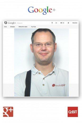 Ein Bild von mir im Google+ Stand aufgenommen