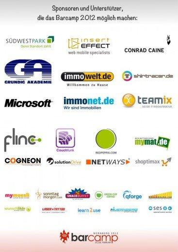 Poster mit allen Sponsoren des Barcamps Nürnberg 2012
