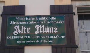 """Schild des Restaurants """"Alte Münz"""""""