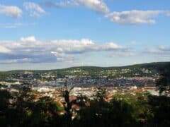 Blick vom Aussichtspunkt in der Zeppelinstrasse auf Stuttgart
