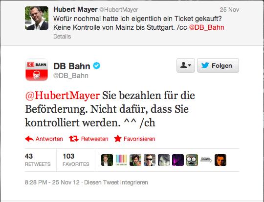 Mein Dialog mit dem Twitter Team der Deutschen Bahn (inkl. Update)