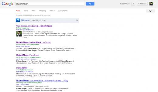 Screenshot von den Ergebnissen der Google Suche nach meinem Namen