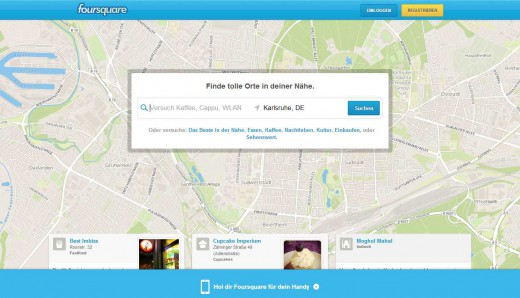 Screenshot von Foursquare.com