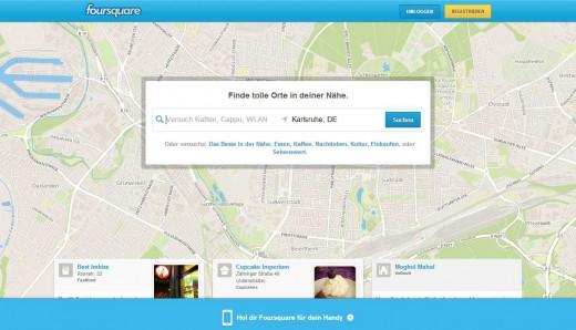 Screenshot von Foursquare.com