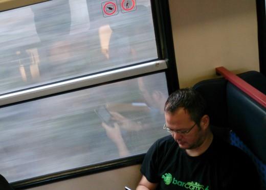 Bild von mir im Zug auf dem Railtrip nach Bamberg
