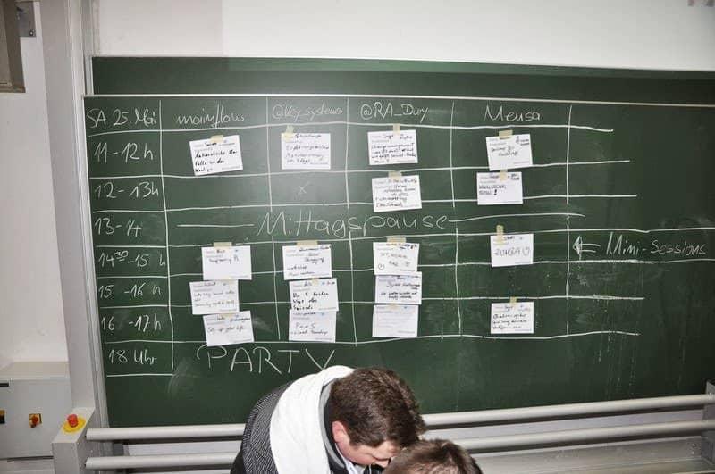 Sessionplan beim Saarcamp an der Tafel