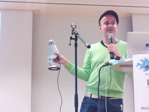 Daniel Fiene in Action auf dem Barcamp Düsseldorf