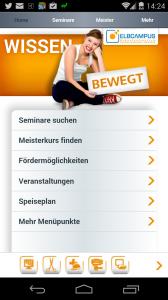 Screenshot von der mobilen Startseite des ELBCAMPUS