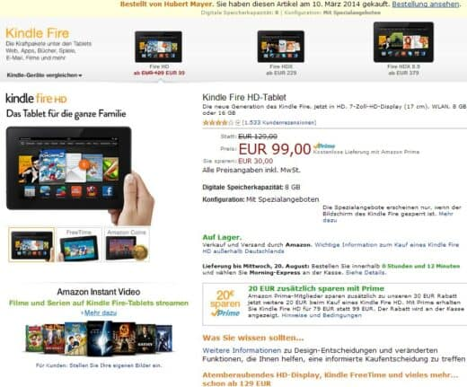 Screenshot Amazon Website 19.08.2014 19.15 Uhr mit Angebot Kindle Fire HD