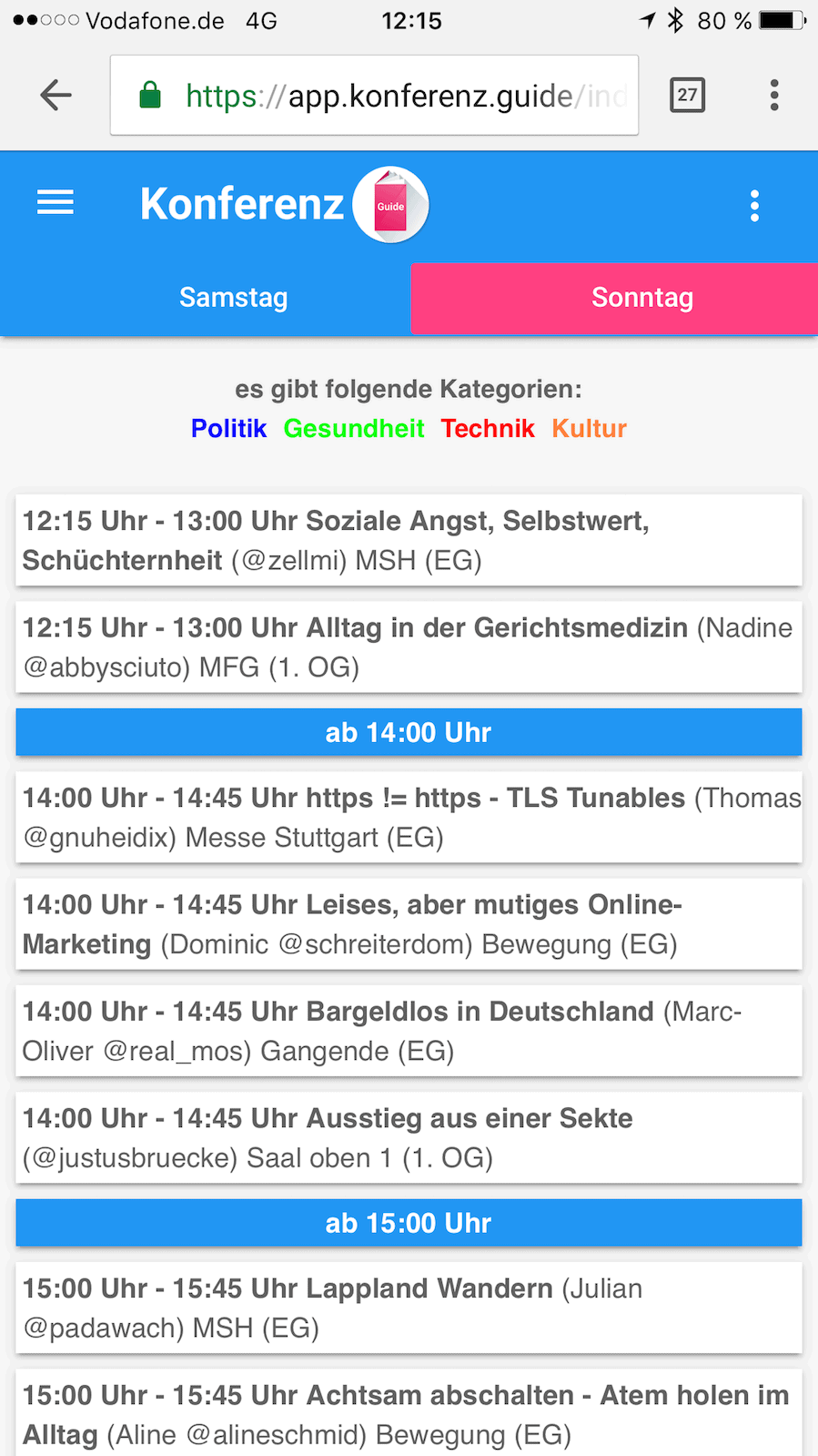 Screenshot einer meiner Dilemma-Slots auf dem 10. Barcamp Stuttgart: 4 Sessions in den Favoriten...