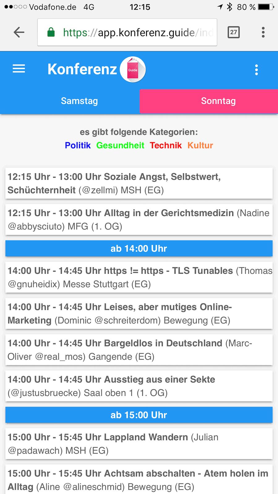 Screenshot einer meiner Dilemma-Slots auf dem 10. Barcamp Stuttgart: 4 Sessions in den Favoriten...