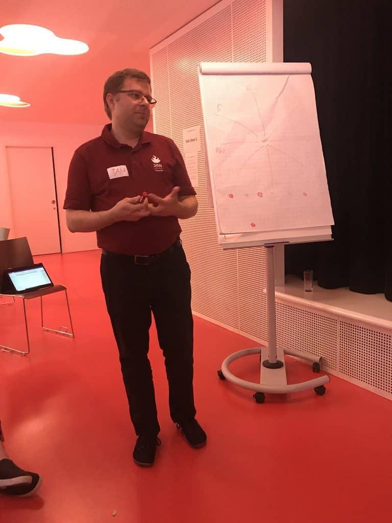Mr. Barcamp Jan Theofel in seiner eigenen Session beim Barcamp Stuttgart 2018