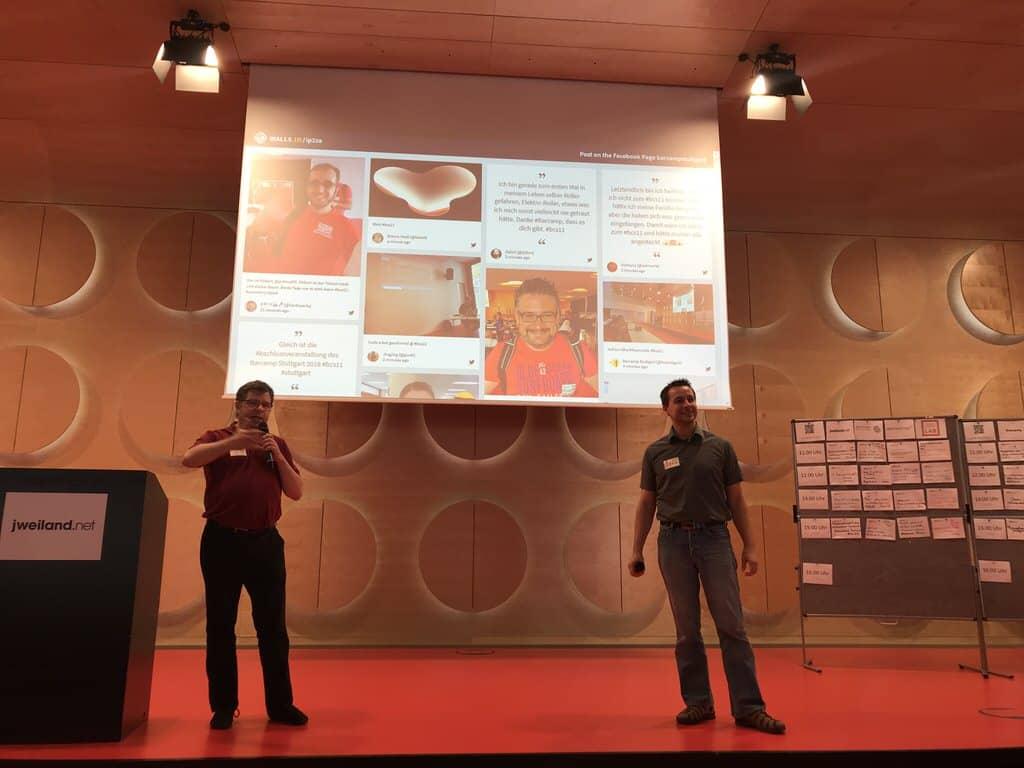 Jan und Martin moderieren die Abschlusssession des Barcamps Stuttgart 2018