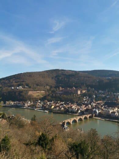 Der klassische Blick vom Philosophenweg Heidelberg in Richtung Schloss