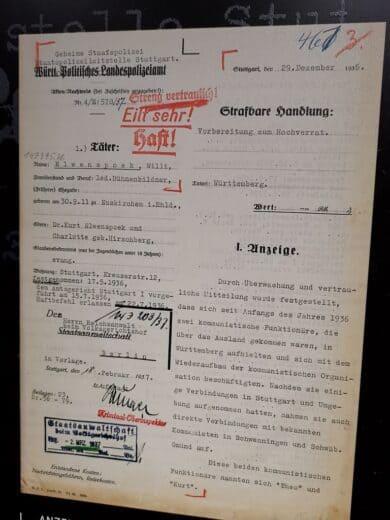Der beleg der Umbenennung der Politischen Polizei in Gestapo. Alter Name im Briefkopf einfach ausge-xt