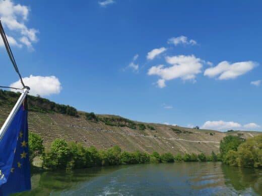 Einer der Hauptgründe, warum ich so gerne mit dem Schiff fahre - die Weinberge am Neckar