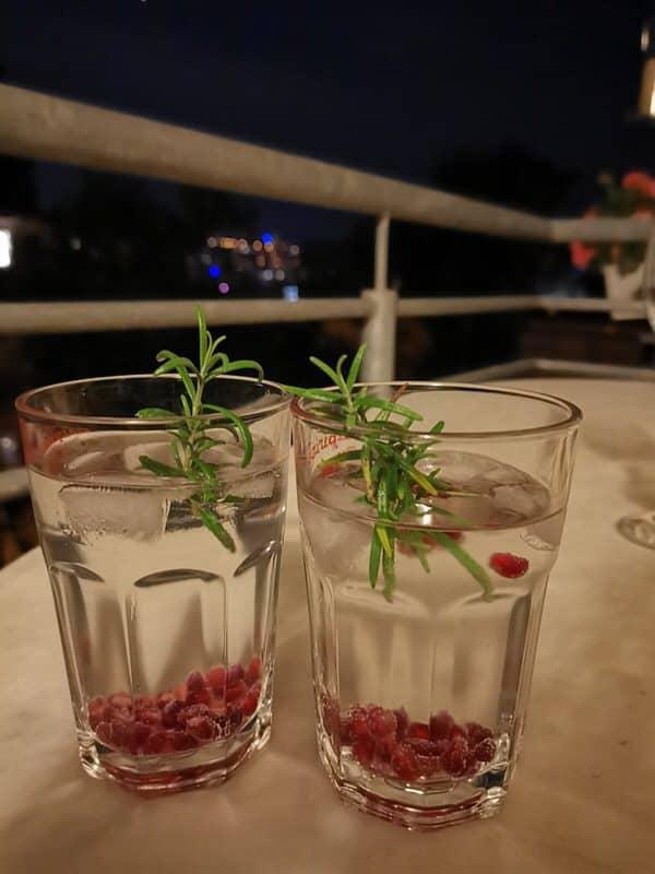 Gin Tonic mit Graatapfelkernen und Rosmarinzweig