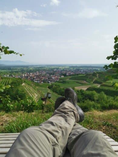 Gechillt die Aussicht gegen Ende der Wanderung auf dem Kaiserstuhlpfad genießen