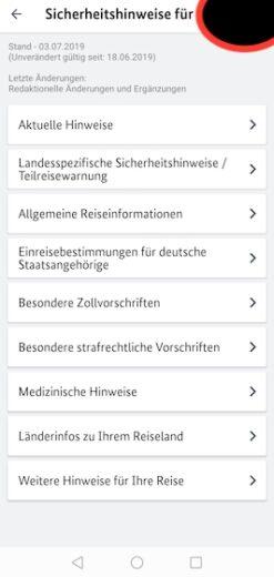 """Ausführliche Informationen zum Reiseland in der App """"Sicher Reisen"""""""