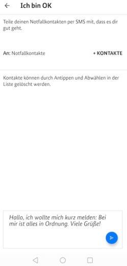 """Entwarnung an Notfallkontakte einfach senden in der App """"Sicher Reisen"""""""