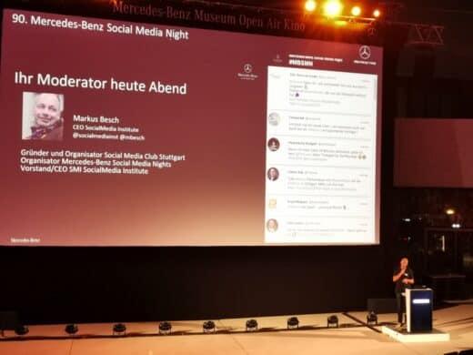 Markus Besch bei Begrüßung zur 90. Mercedes-Benz-Social-Media-Night