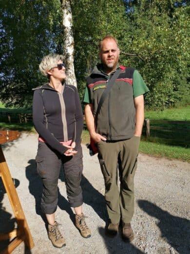 Nannette Sicke-Hemkes und Jan Preller vor unserer Pilz-Pirsch durch das Wisentgehege Hammerhof
