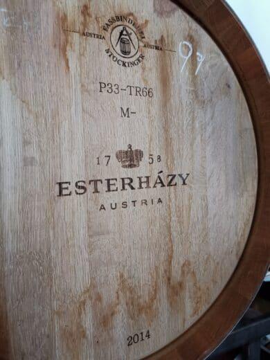 Eines der Weinfässer, in denen der Wein dann lagern darf im Weingut Esterhazy