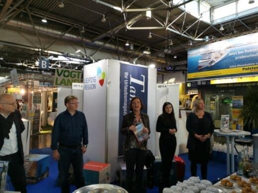 Begrüßung AM Stand von Leipzig Tourismus