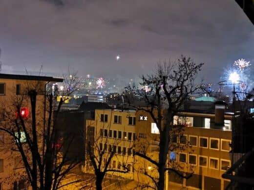 Silvesterfeuerwerk von meinem Balkon aus