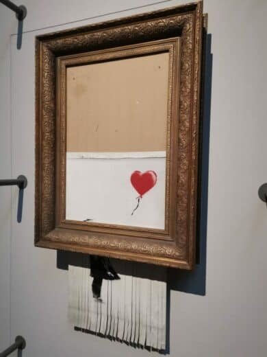 Love in the bin - geshreddertes Banksy Bild in der Staatsgalerie