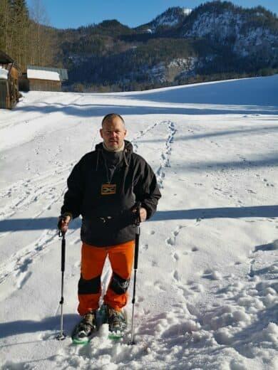 Ich beim Schneeschuhlaufen