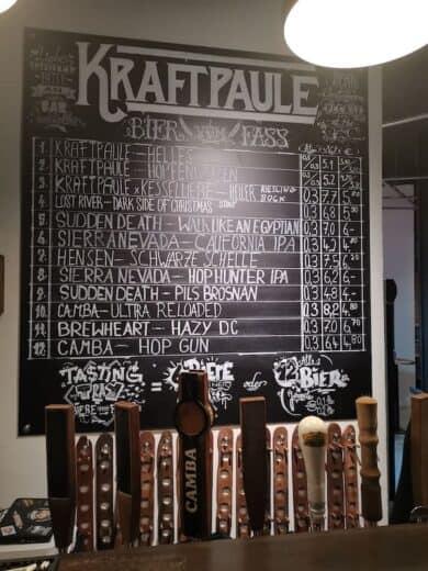 Die Bierkarte im Kraftpaule am 03.01.2020