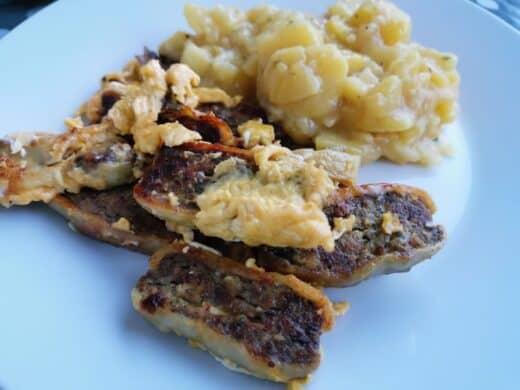 Die leckeren Maultaschen vom Metzger Sum und Nics fantastischer frischer Kartoffelsalat