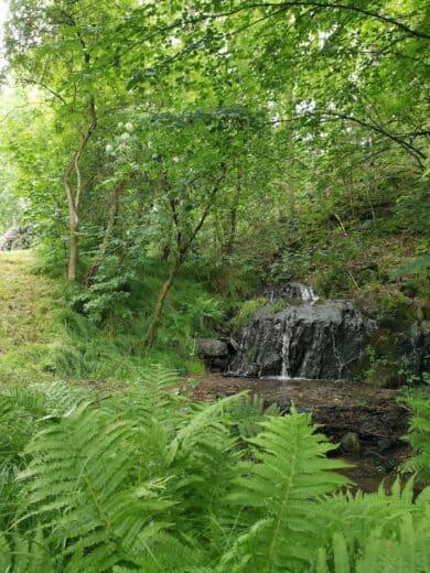 Ein kleiner Wasserfall am Rande des Nurtschweges
