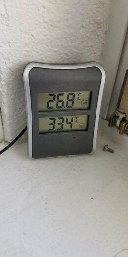 26,8 Grad am Montagnachmittag um 16:11 Uhr im Arbeitszimmer