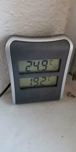 24,9 Grad morgens am Montag um 9 Uhr als ich heim kam von Nic