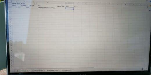 Fahrtenbuch, Kosten, alles bei Google Tabellen...