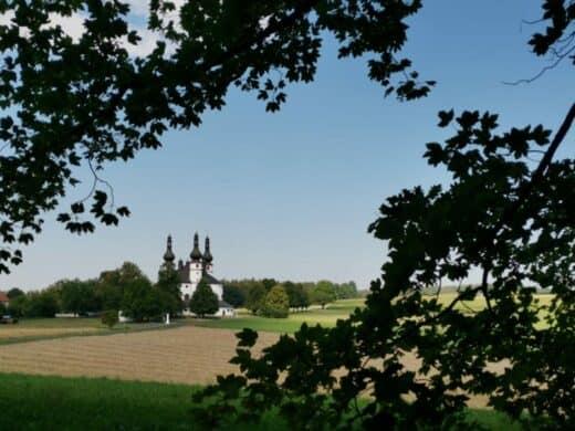 Die Dreifaltigkeitskirche Kappl taucht zwischen den Bäumen auf