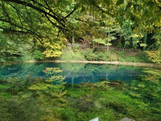 Der Blautopf mit seinen tollen Spiegelungen und grün unter der Oberoberfläche