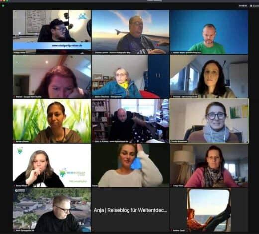 Einige der Teilnehmer beim Reisebloggercamp :) (Screenshot: Thomas Jansen)