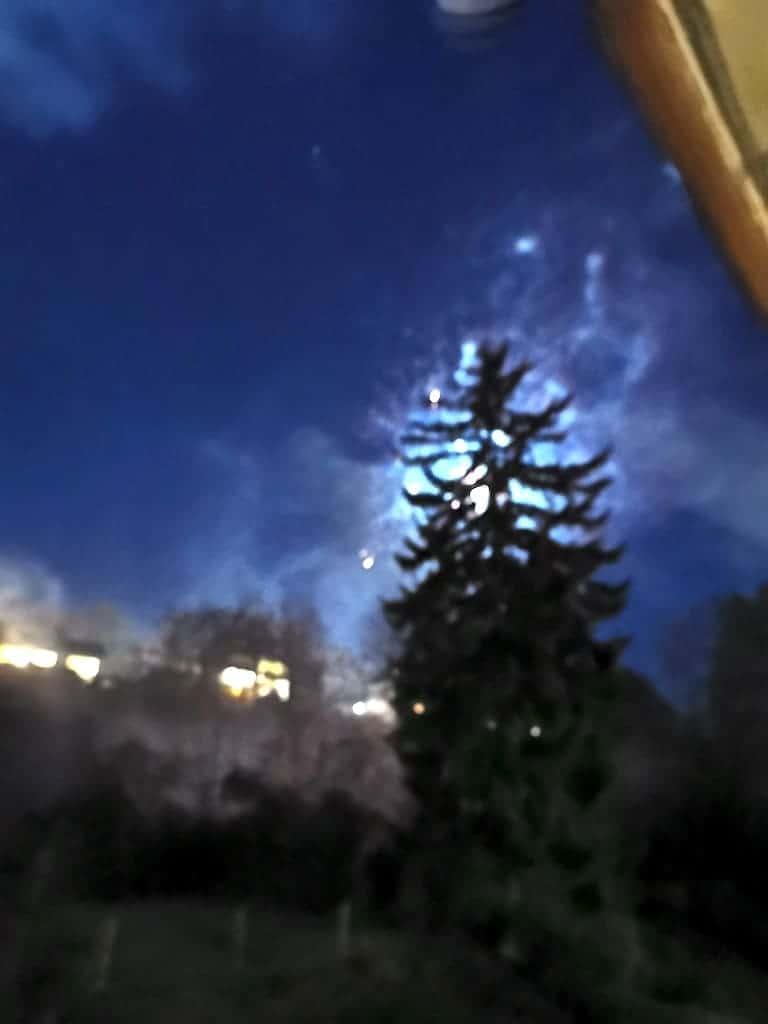 Ein kleines Feuerwerk hinter dem Baum
