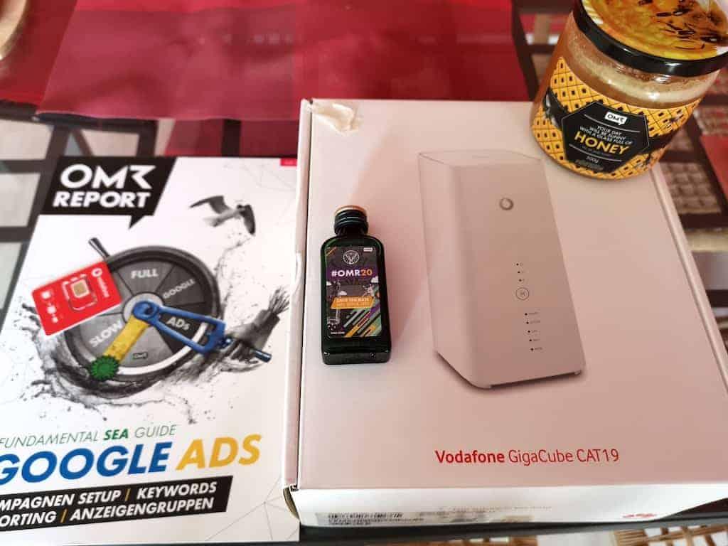 Mein Gewinn von OMR: Vodafone GigaCube, OMR Report GoogleAds, Honig und Schnaps