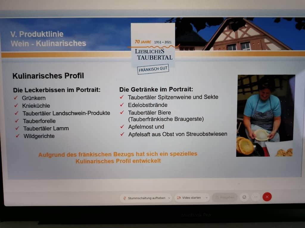 Abfotografierter Laptop zum Thema Kulinarik im Lieblichen Taubertal